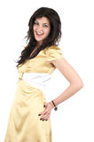 Beautiful cheerful woman in short dress Royalty Free Stock Photography