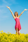 Beautiful cheerful woman spring field Stock Photos