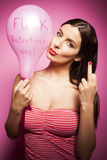 Beautiful cheerful woman with valentines day balloon Royalty Free Stock Photography
