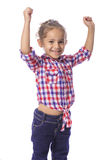 Beautiful Cheering Gril Raising Her Hands Royalty Free Stock Photo