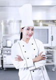 Beautiful chef on kitchen Royalty Free Stock Photos