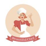 Beautiful Chef. Restaurant emblem Royalty Free Stock Images