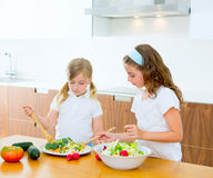 Beautiful chef sisters at kitchen preparing salad Stock Photos