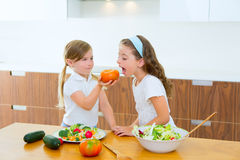 Beautiful chef sisters at kitchen preparing salad Royalty Free Stock Image
