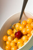 Beautiful cherry and gooseberries Stock Photography