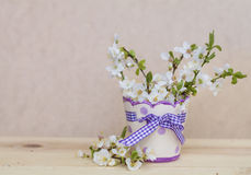 Beautiful cherry twigs  in small decorative vase Stock Photo