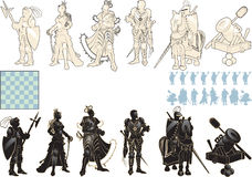 Beautiful chess pieces. Made in the form of silhouettes of armed people vector illustration