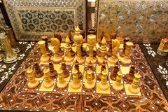 Beautiful chess set, made of wood, in on the Istanbul Grand Baza Stock Photo