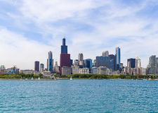 Beautiful Chicago. Chicago, USA - May 24, 2014: Part of Chicago skyline including Willis Tower with Grant Park and Buckingham Fountain seen from Lake Michigan Stock Image