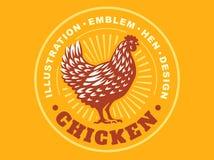 Beautiful chicken emblem on yellow background Royalty Free Stock Photo