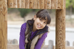 Beautiful child. Happy child posing in a playground park Stock Images