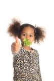 Beautiful child asian Afro American child salad Stock Image