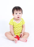 Beautiful child, baby holding a red heart Royalty Free Stock Photos
