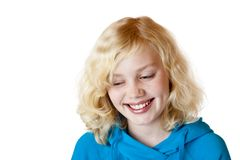 Beautiful child with blond hair smiles happy Royalty Free Stock Photo