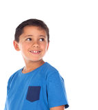 Beautiful child with blue tshirt and black hair Royalty Free Stock Photos