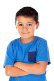 Beautiful child with blue tshirt and black hair Stock Image