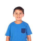 Beautiful child with blue tshirt and black hair Royalty Free Stock Image