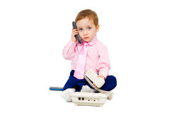 Beautiful child in a business suit Royalty Free Stock Image