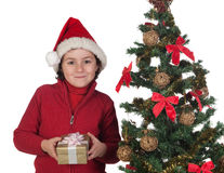 Beautiful child with Christmas trees and gift Stock Image