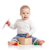 Beautiful child with colorful educational toy Royalty Free Stock Photography