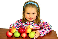 The beautiful child eats beautiful apples Stock Photography