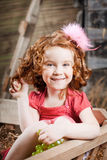 Beautiful  child on the farm Stock Photo
