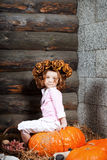 Beautiful  child on the farm Royalty Free Stock Image