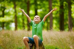 Beautiful child in the forest. Portrait of a cute kid outdoor enjoying nature Royalty Free Stock Photography