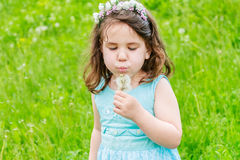 Beautiful child girl in park. Happy kid having fun outdoo. Beautiful child girl with dandelion flower in spring park. Happy kid having fun outdoors Stock Photography