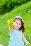 Beautiful child girl in park. Happy kid having fun outdoo Royalty Free Stock Image