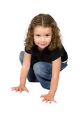Beautiful child with hands on the floor Stock Image