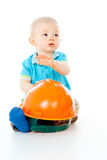 Beautiful child and helmet Stock Images
