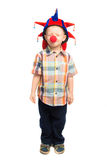 Child clown shut his eyes Stock Image