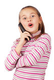 Beautiful child with a phone Royalty Free Stock Photos