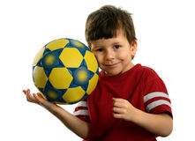 Beautiful child with soccer ball Royalty Free Stock Images