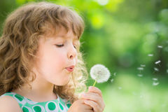 Beautiful child in spring Stock Photos