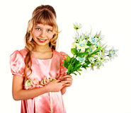 Beautiful child with spring flower. Beautiful girl with spring flower. Isolated Stock Photo