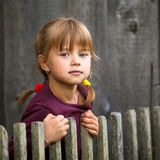 Beautiful child standing near rural fence. Stock Photo