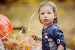 Beautiful child with a straw. Royalty Free Stock Photo