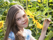 Beautiful child with sunflower Royalty Free Stock Images