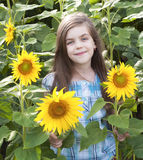 Beautiful child with sunflower Royalty Free Stock Photography