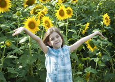 Beautiful child with sunflower Royalty Free Stock Photo