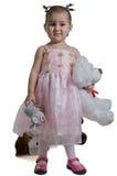 Beautiful child with white bear. Royalty Free Stock Photo