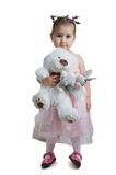 Beautiful child with white bear. Royalty Free Stock Image