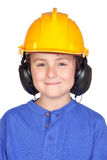 Beautiful child with yellow helmet Stock Images