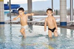Beautiful childhood moments. On swimming pool Stock Photography