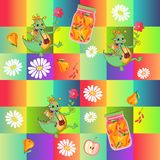 Beautiful childish patchwork pattern with cute cartoon dino, chamomile flowers, jar of pear compote and fruits Stock Photo
