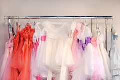 Beautiful children dresses for little girls Stock Photo
