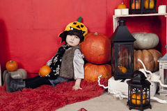 Beautiful children on Halloween in the studio Stock Image