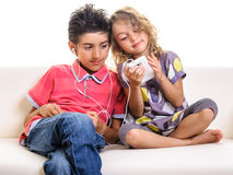 Beautiful children music cell phone Stock Images